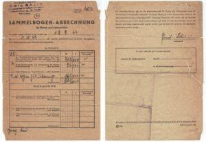 Dokument niemiecki. Rozliczenie za mięso i tusze - 18.09.1944 r