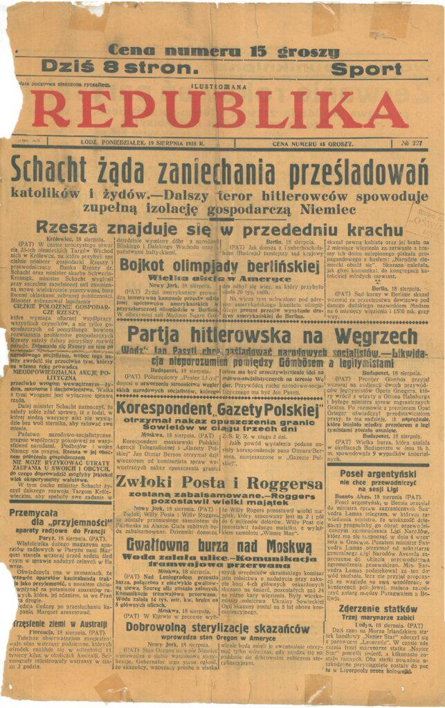 """Pierwsza strona gazety """"Republika"""""""