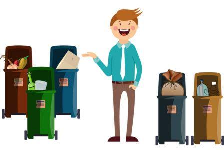 Grafika przedstawiająca segregowanie odpadów