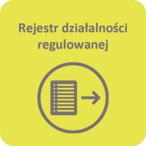 Grafika z napisem Rejestr działalności regulowanej