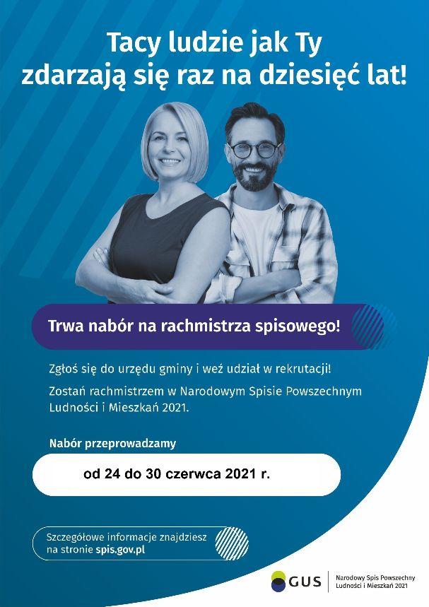 Plakat informujący o naborze uzupełniającym na rachmistrzów spisowych